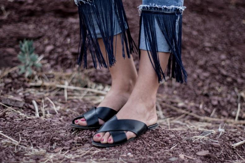 pantalon a franges pull and bear - tendance claquettes - laroxstyle blog mode lyon