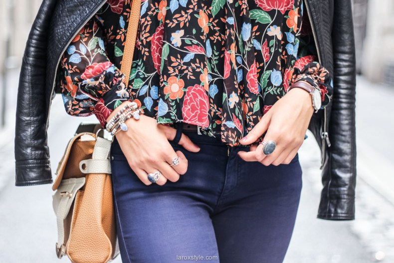 blouse fleurie - sac vintage - laroxstyle blog mode lyon-16