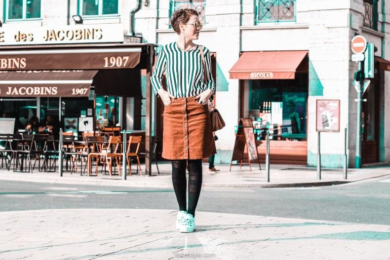 jupe velours cotele - top rayures - look vintage - destockage en ligne - modz - blog mode lyon - © laroxstyle-11