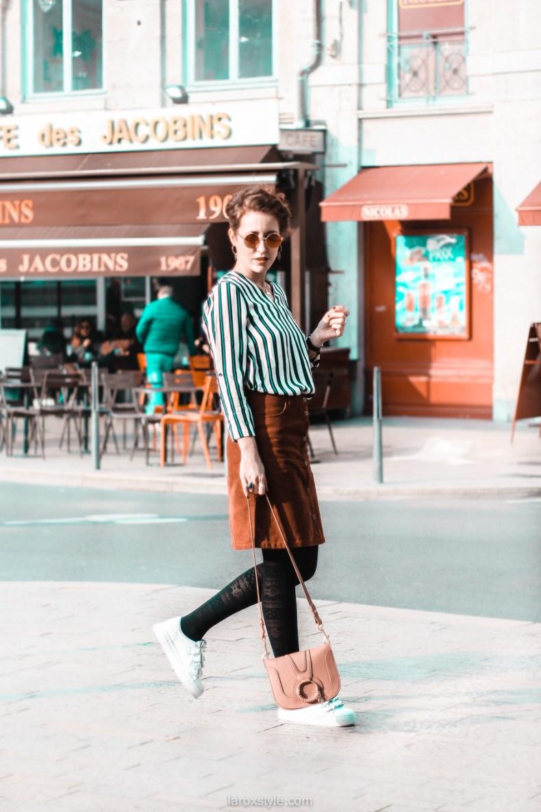 jupe velours cotele - top rayures - look vintage - destockage en ligne - modz - blog mode lyon - © laroxstyle-24
