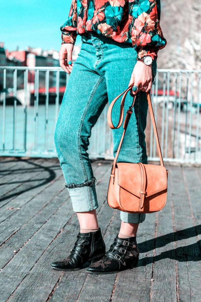 look chemise a fleurs - look rock - jean 7 8 - boots clous - blog mode lyon-18