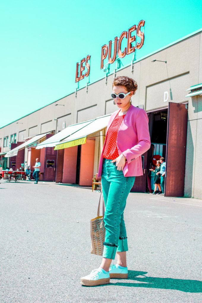 idees looks tailleur pantalon rose et top a pois - blogueuse lyon