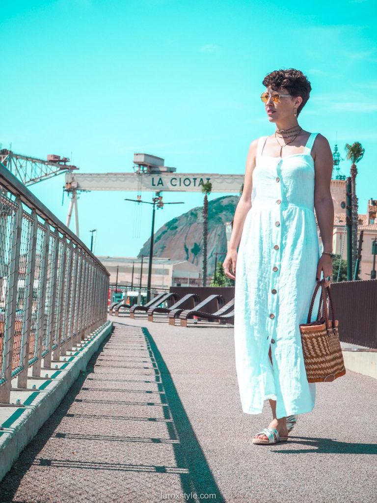 robe blanche boutonnee en lin