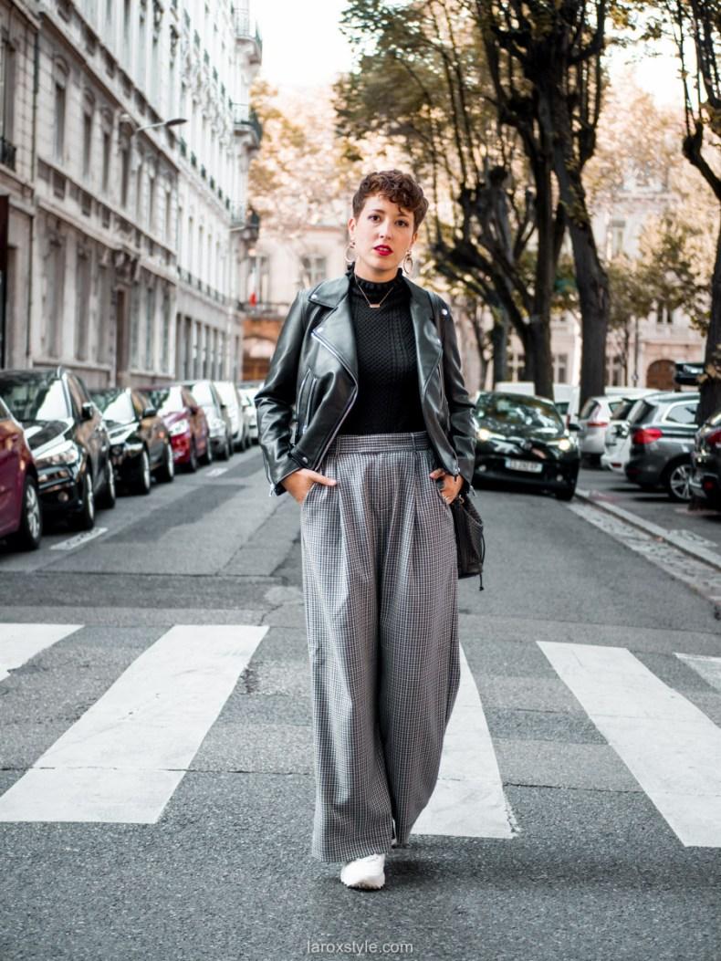 comment porter le pantalon pied de poule - perfecto noir - look blog