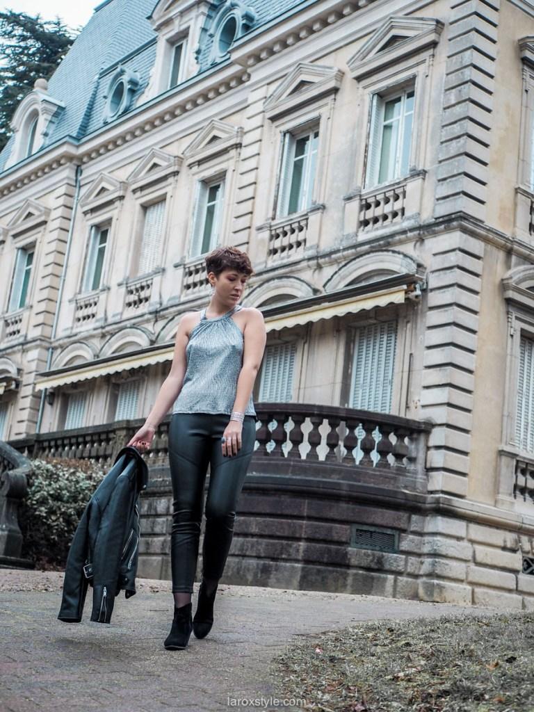 blog mode look de fêtes rock pantalon cuir