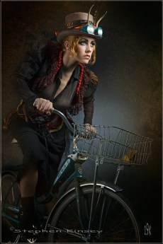 Steampunk Girl Rides a Bike