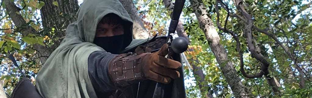 larp assassin in the woods