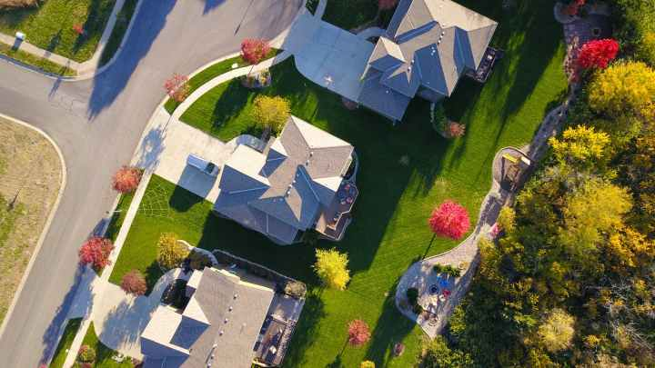 bird s eye view of three houses