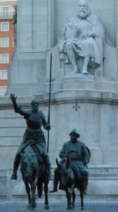 Don Quixote and Sancho with Cervantes watching