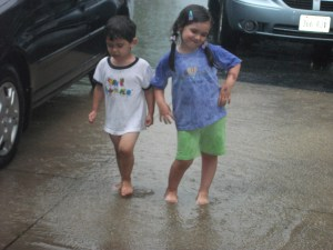 I encourage my kids to play in the rain and get dirty