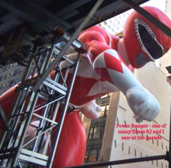 Power Ranger going down 6th Avenue at Macy's Thanksgiving Day Parade.