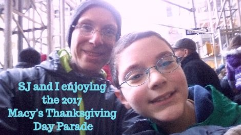 SJ and I enjoying the Macy's Thanksgiving Day Parade