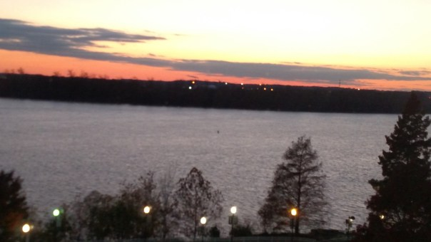 Ohio River sunset from my downtown Evansville hotel room