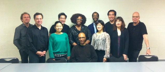 photo of group surrounding Billy Childs at Billy Childs' Enlightened Souls Premiere at Duke University with Ying String Quartet and Dianne Reeves