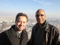 photo of Larry Koonse and Billy Childs enjoying the view from atop Eiffel Tower
