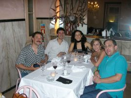 Photo of Larry Koonse dinner with Luciana Souza and Matt Aronoff On Tour in Portugal