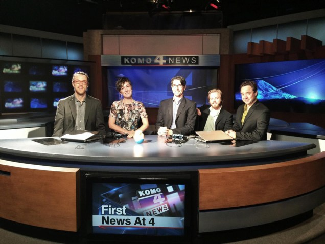 photo of five members of Sara Gazarek as News Team: Hamlton Price, Sarah, Josh Nelson, Zach Harmon, and Larry Koonse