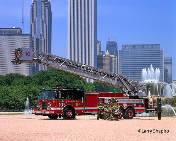 Pierce fire truck with Chicago skyline