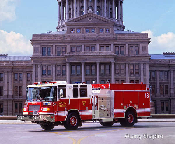 Pierce fire engine at the Texas capital building in Austin