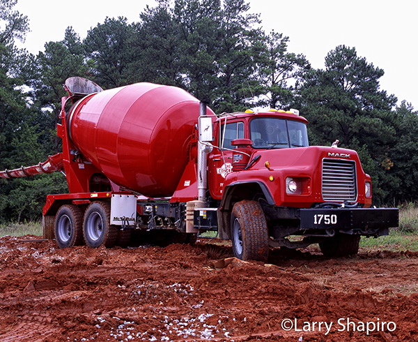 Mack cement mixer in red Georgia clay