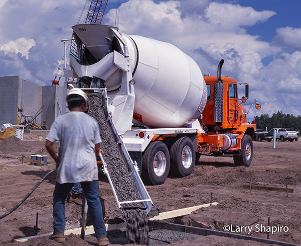 cement mixer pouring concrete