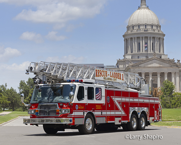 Oklahoma City fire truck with the state capitol