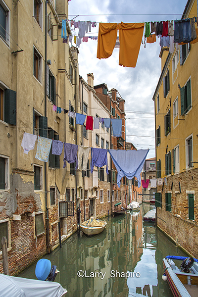 clothes out to dry above a canal in Venice