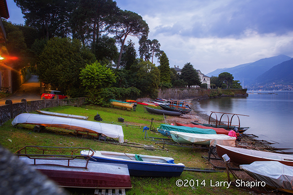 boats on the shore of Lake Como