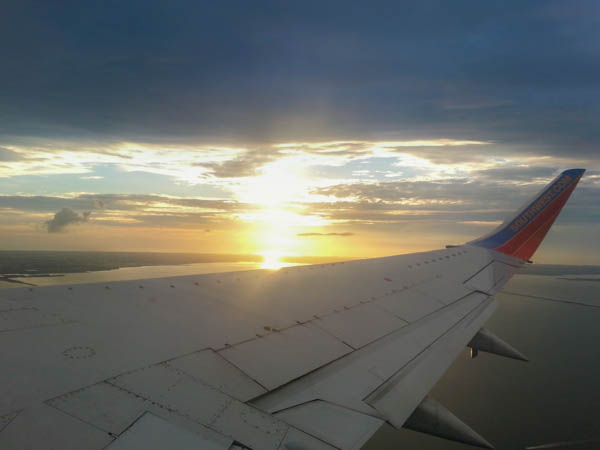sunset over Tampa Bay from a Southwest Airlines plane
