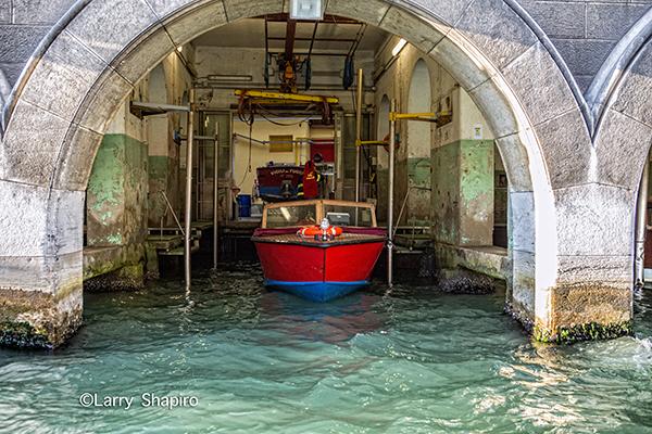 fire boat in Venice Italy