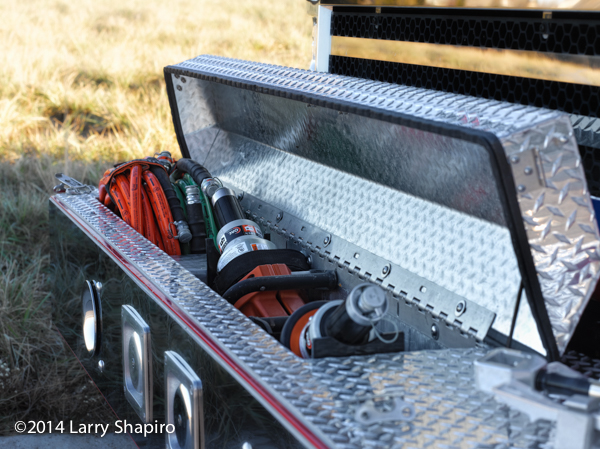 hydraulic rescue tools in front bumper of fire engine