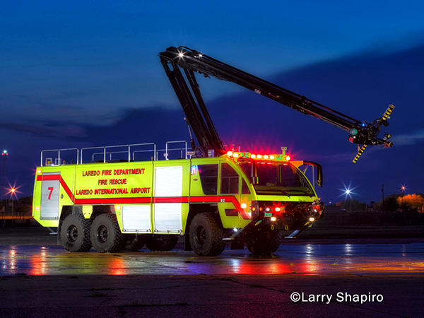 airport fire truck at night