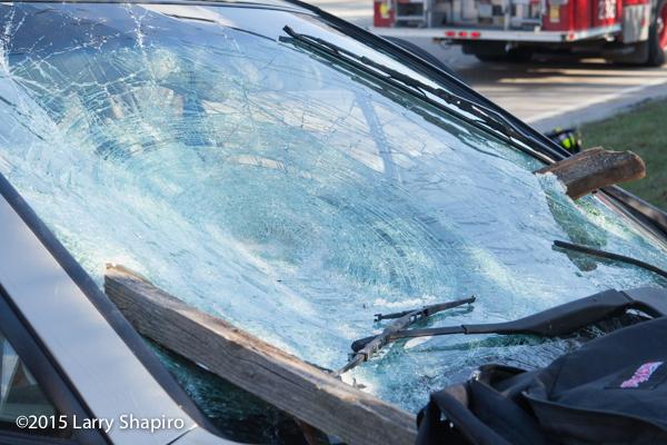 4x4 fence posts pierce car windshield