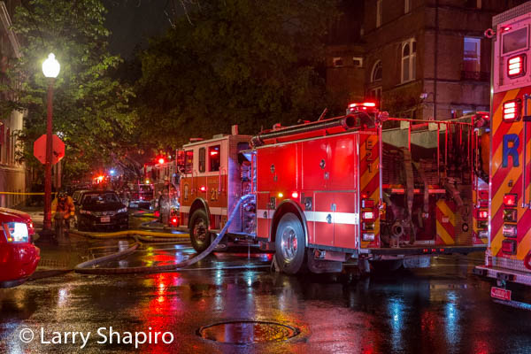 DCFD fire engine at a night fire scene