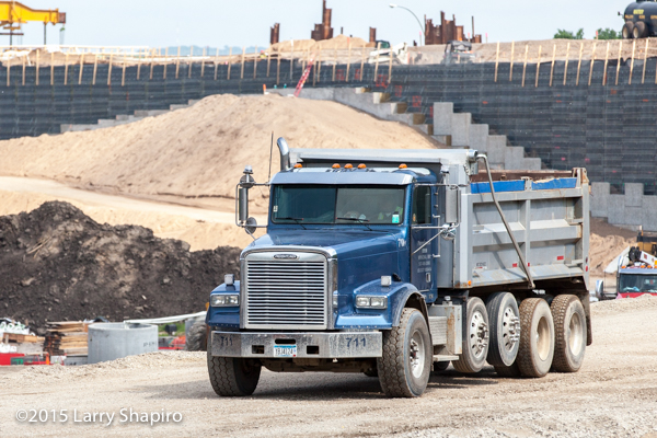 Freight liner dump truck at construction site