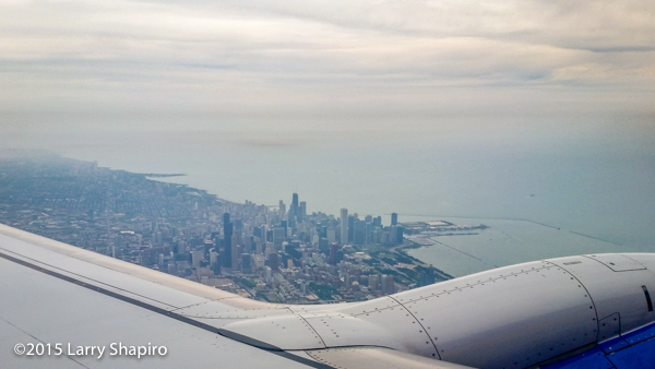 Chicago skyline seen from an airplane window