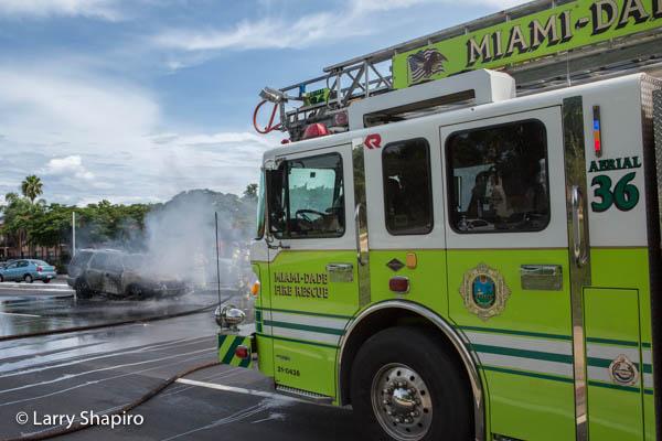 Miami-Dade fire truck at car fire scene