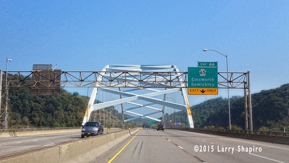 Roadway bridge on Interstate 79 near Pittsburgh