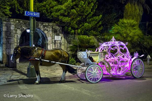 Illuminated horse-drawn carriage
