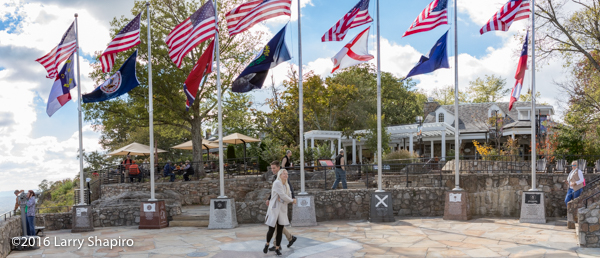 flags of the 7 states visible from the Rock City Gardens and lookout Mountain
