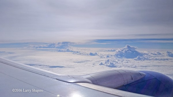 Looking at clouds from a Southwest Airlines exit row