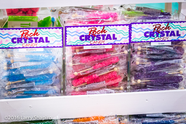 Rock candy display in a candy store