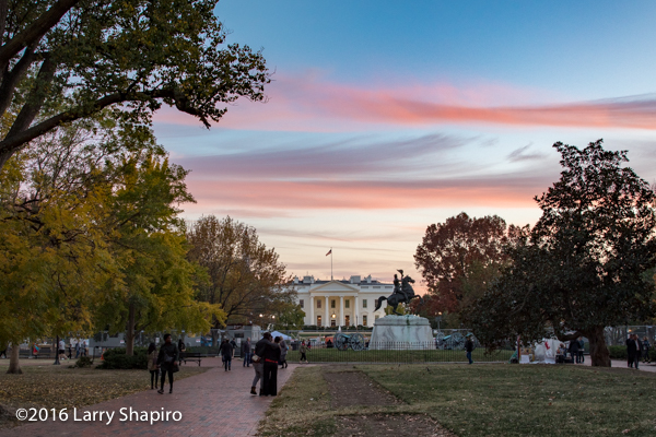 The White House at dusk