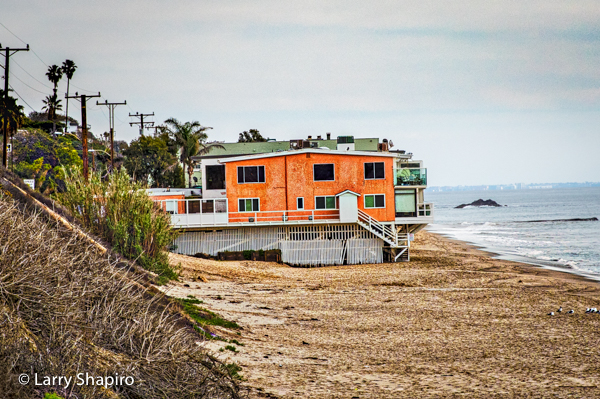 Orange beach house in Malibu
