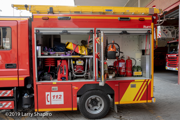 equipment carried on an iturri pumper in Granada Spain bomberos