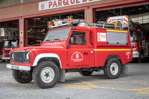 Land Rover fire truck for brush fires in Granada Spain