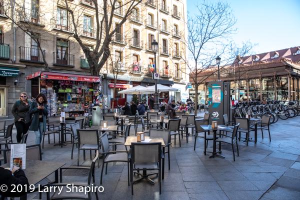 open air market in Madrid Spain