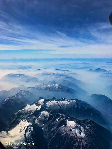snow capped Mountains of British Columbia seen from an airplane