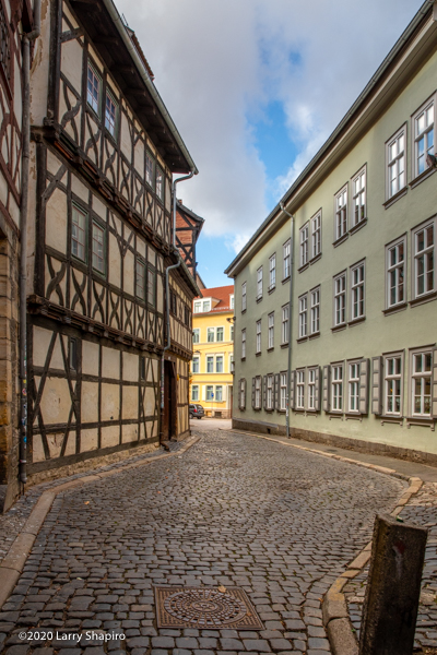 Cobblestone street in Erfurt Germany