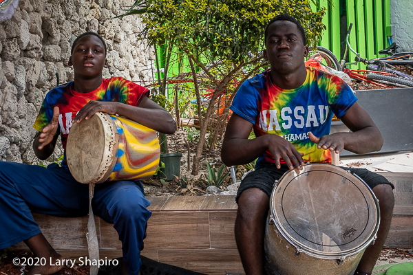native Nassau boys playing drums